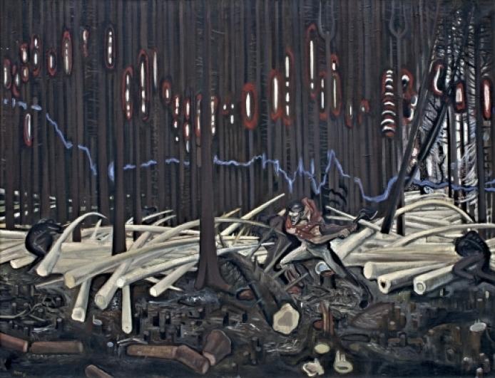 Vladivoj Kotyza, Dřevorubci, 1964, olej na plátně, 122×95 cm