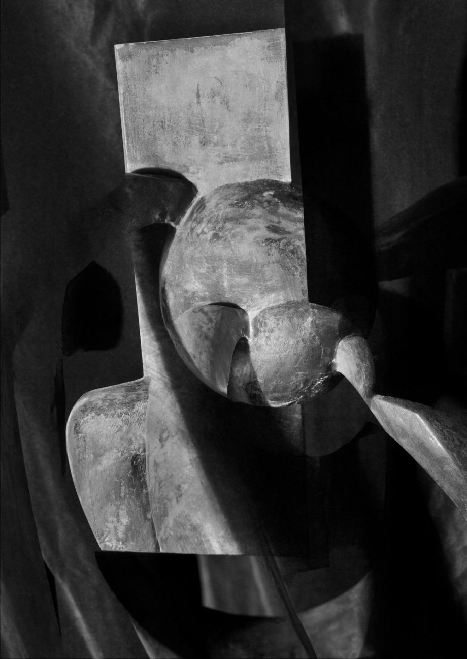Jiří Thýn, prostorová morfologie No. A_B0A6951 (zdroj: H. Wichterlová, Kompozice, 1929), 2021, černobílá fotografie, 100 černobílá fotografie,100×140 cm