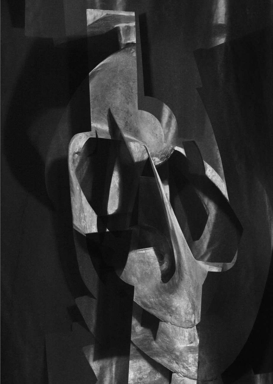 Jiří Thýn, prostorová morfologie No. A_B0A6919 (zdroj: H. Wichterlová, Kompozice, 1929), 2021 černobílá fotografie,100×140 cm