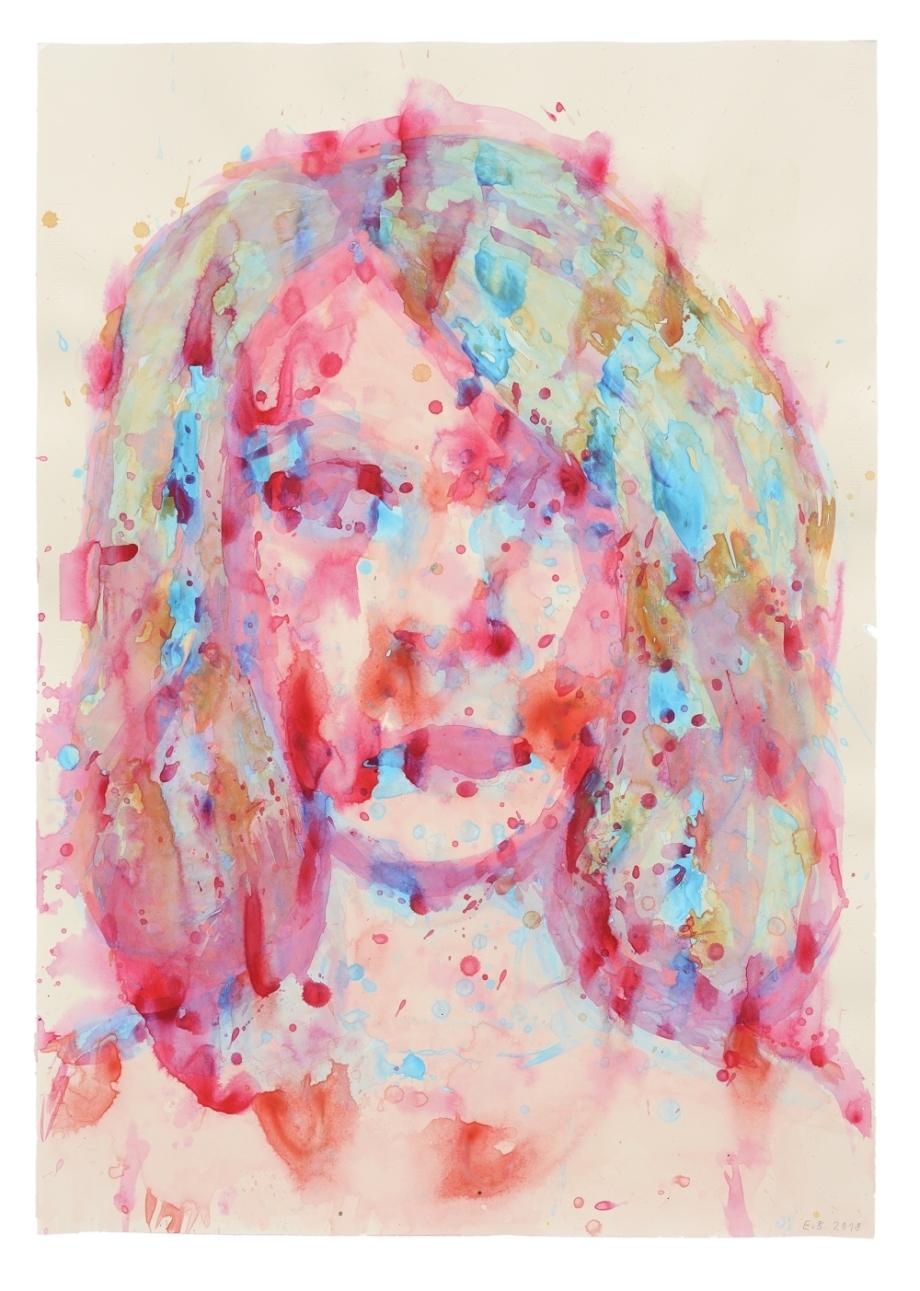 Erika Bornová, Autoportrét, 2018, akryl na papíře