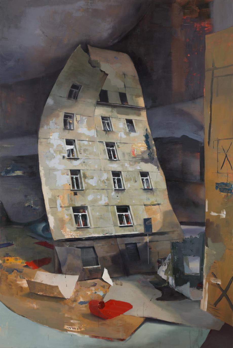 Daniel Pitín, Léto ve městě, 2019, plátno, akryl, olej, 290×135 cm