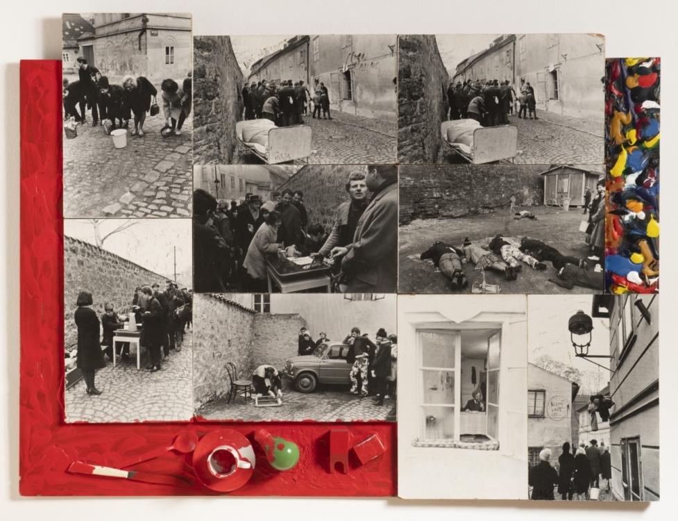 Milan Knížák, Aktuální procházka po Novém Světě - Demonstrace pro všechny smysly, 1964, kombinovaná technika, papír, dřevo, 86×119 cm