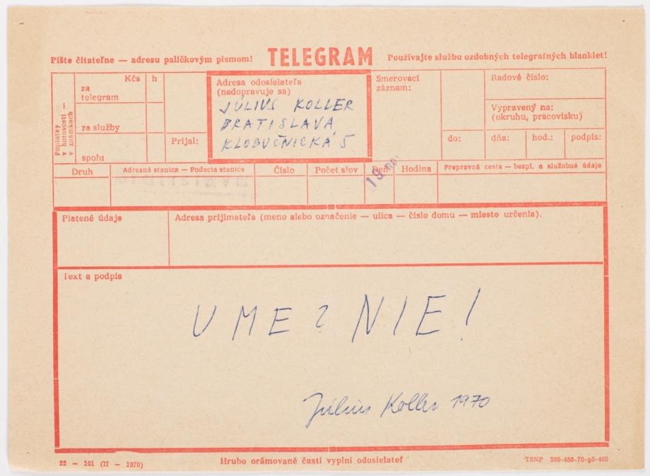 Július Koller, Ume Nie!, 1970, tisk, papír, 14×20 cm
