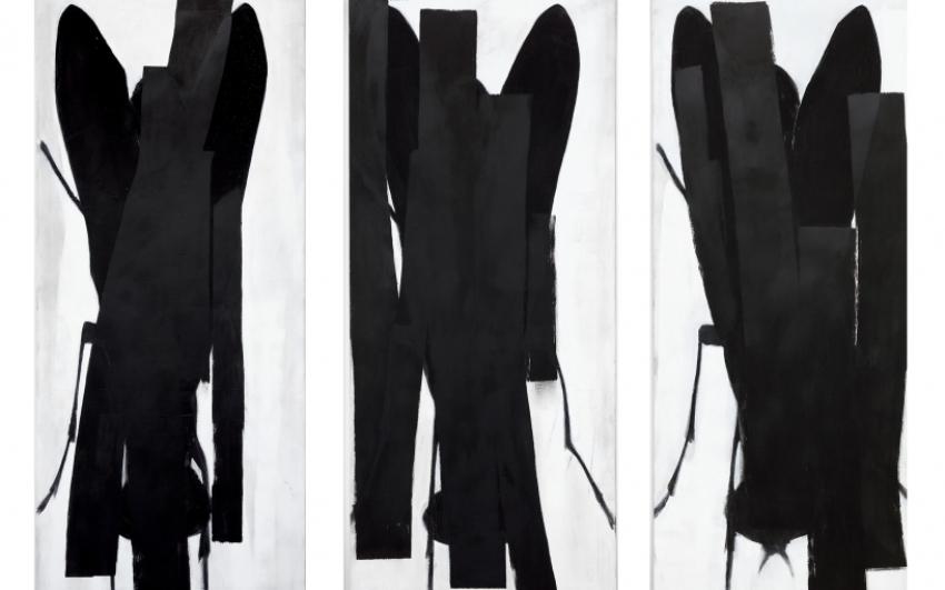 Josef Žáček, Bez názvu, 2014–2015, olej na plátně, 230×500 cm