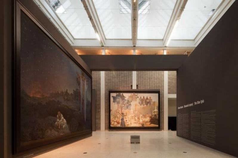 view of the exhibition Alfons Mucha: The Slav Epic, Trade Fair palace, 2012. Photo by Tomáš Souček