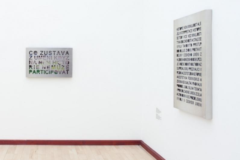 view to the exhibition Ján Mančuška: First Retrospective, Municipal Library, 2nd floor, 2015. Photo by Tomáš Souček