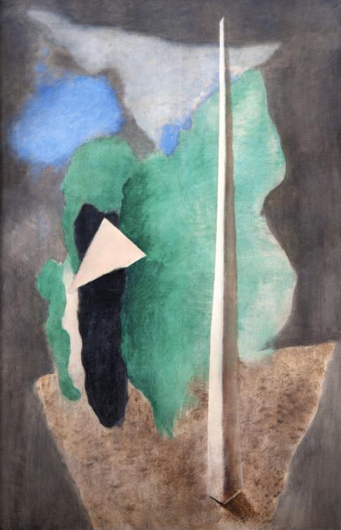 Josef Šíma, Krajina s trojúhelníkem (Krajina s obeliskem), 1930, tempera, plátno, 149×99 cm, GHMP