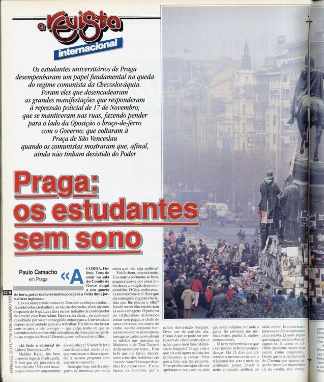 Článek o akci s růžemi v portugalském tisku, 1989. Zdroj: Biblioteca Municipal de Lisboa