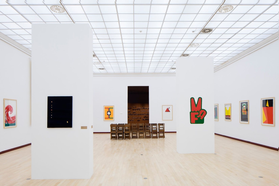 view to Carnations and Velvet / Art and Revolution in Portugal and Czechoslovakia 1968–1974–1989 exhibition. Municipal Library, 2nd floor, 2019. Photo by Tomáš Souček