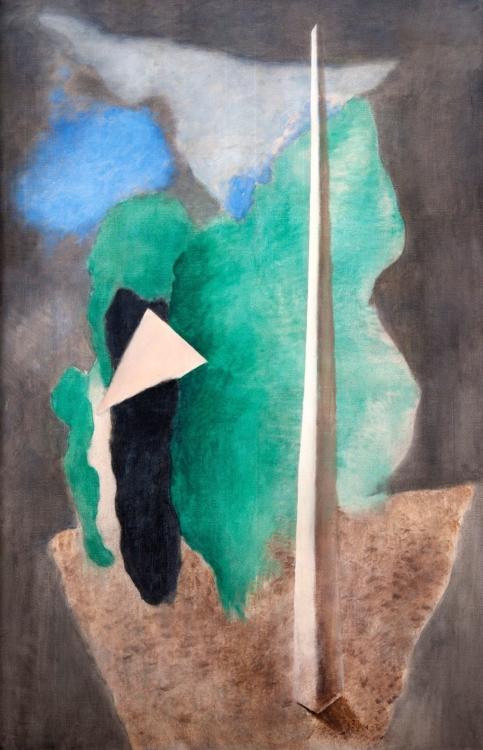 Josef Šíma, Landscape with a Triangle (Landscape with an Obelisk), 1930, tempera, canvas, 149×99 cm, GHMP