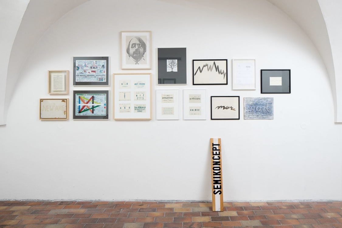 view to the exhibition Probe 1 – The Story of Slovak (Post)Conceptual art, Stone Bell House, 2019. Photo by Tomáš Souček