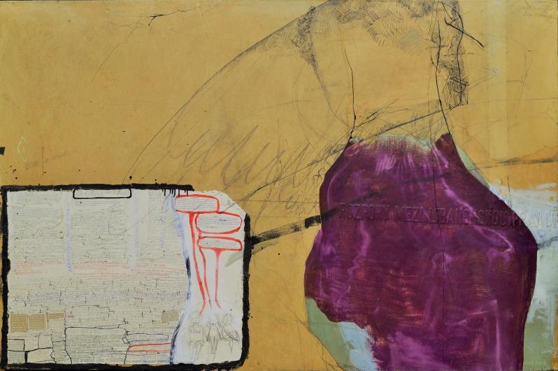 Bedřich Dlouhý, Kompozice, 1984, kombinovaná technika, papír, plátno, 126 × 196 cm, soukromá sbírka, foto Hana Hamplová