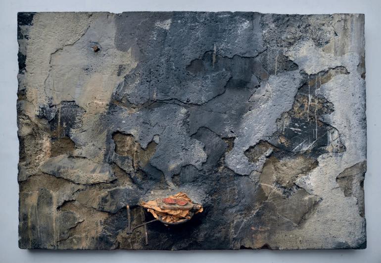 Bedřich Dlouhý, Testování chleba, 1991, kombinovaná technika, deska, 130 × 170 cm, soukromá sbírka, foto Hana Hamplová