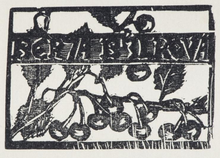 František Bílek, Berta Bílková (vizitka), dřevoryt (xylografie)