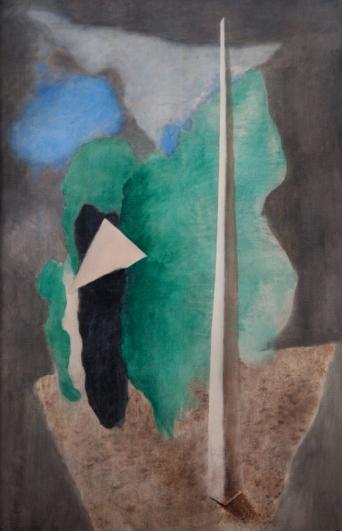 Josef Šíma, Krajina s trojúhelníkem (Krajina s obeliskem), 1930, tempera, plátno, 149 × 99 cm, Galerie hl. m. Prahy