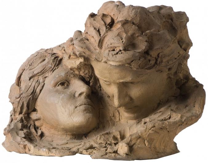 František Bílek, První bližní – žena; Adam a Eva – masky, 1930, pálená hlína