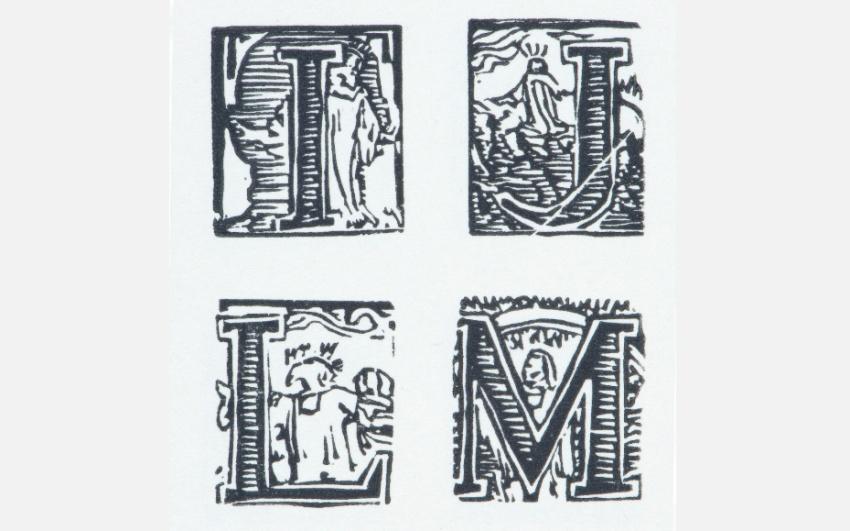 František Bílek, Abeceda, datace neurčena, dřevoryt na papíře