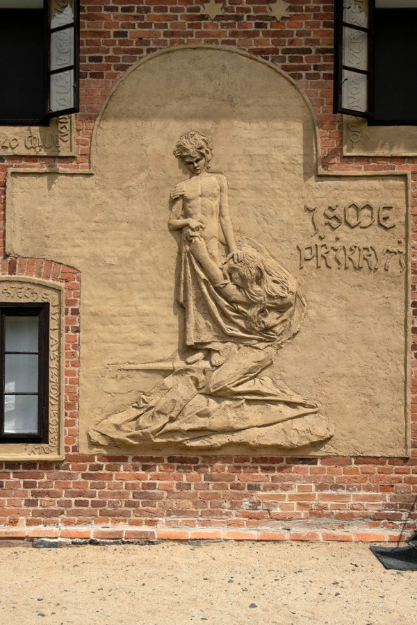 relief on the František Bílek's House in Chýnov. Photo by Oto Palán