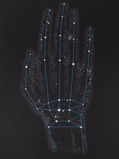 Rudolf Sikora, Souhvězdí ruky IV., 1984, serigrafie, papír, 100×70 cm
