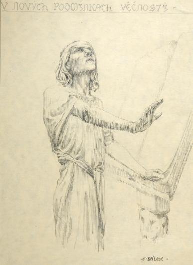 František Bílek, kresba, datace neurčena, tužka na papíře