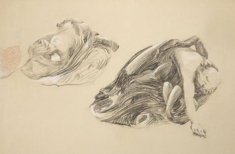 František Bílek, Adam a Eva, kolem 1903, uhel na papíře