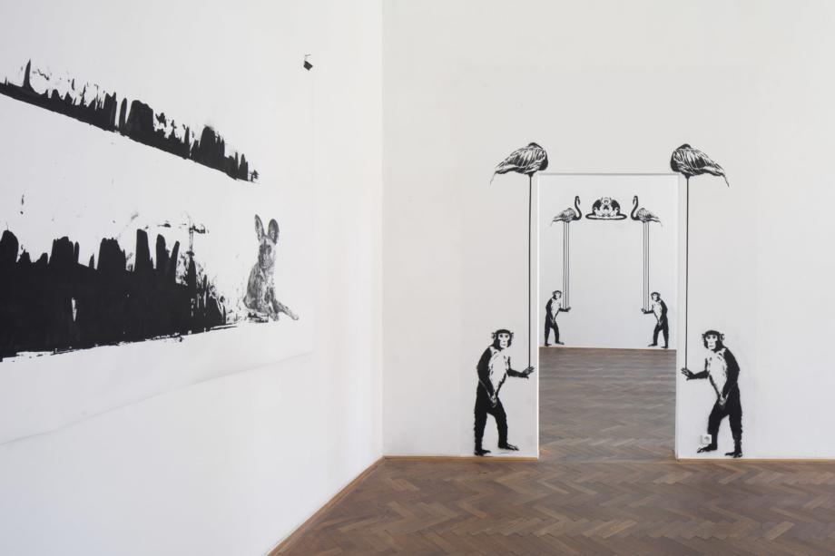 pohled do výstavy Markéta Hlinovská: Srst ve městě, Colloredo-Mansfeldský palác 2018, foto Tomáš Souček