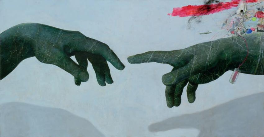 Bedřich Dlouhý, Revival, 2007, olej, akryl, asambláž, plátno, 140 × 270 cm, GHMP, foto Hana Hamplová