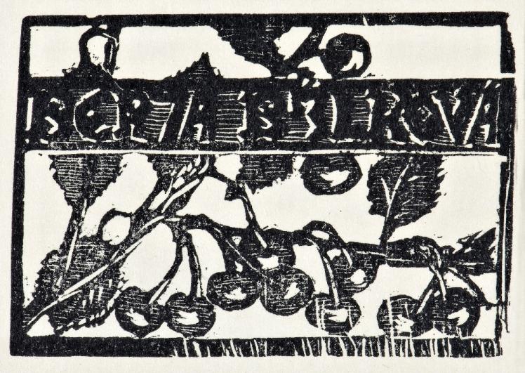 František Bílek, Berta Bílková (vizitka), datace neurčena, dřevoryt na strojním papíře