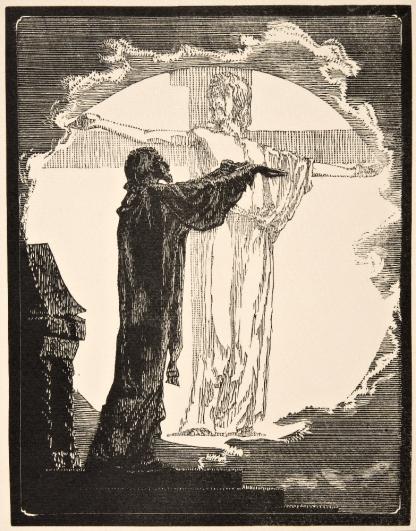 František Bílek, A vidí, jak i slunce má svůj kříž, z cyklu Nejvyšší spravedlnost, 1914, dřevoryt