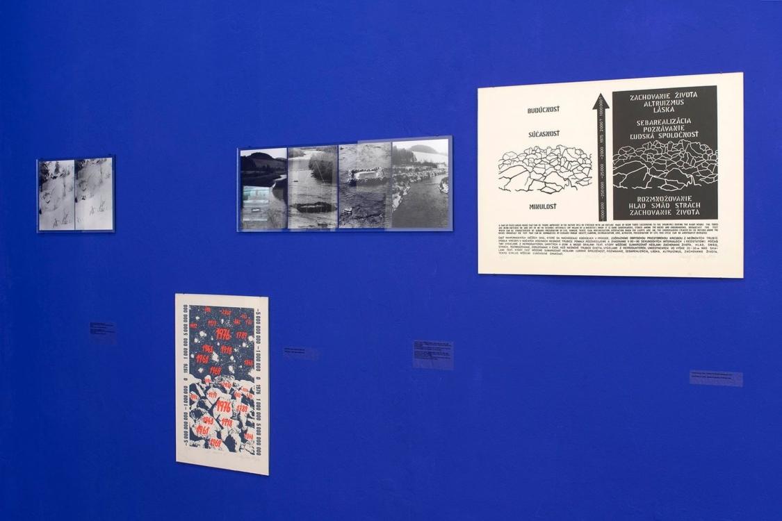 pohled do výstavy Rudolf Sikora a Vladimír Havlík: Sníh kámen hvězda strom, Colloredo-Mansfeldský palác, 2020. Foto Tomáš