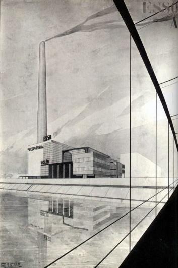 Jaroslav Fragner, První varianta elektrárny ESSO v Kolíně, 1929